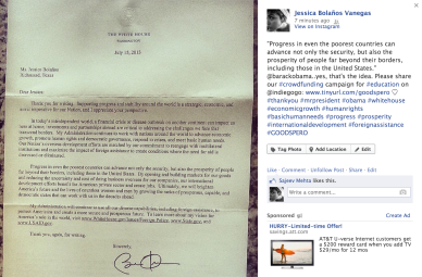 Image: Letter to Jessica Bolanos from the White House - Barack Obama